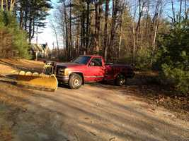 A truck is parked, blocking the entrance to the home of Jessica Linscott's parents on Nov. 29, 2012.