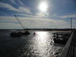 The excavator was considered a hazard because it was located in the boating channel and was not visible above the water.