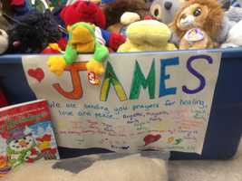 Toys and well wishes have poured into the Plaistow police department for James.