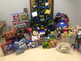 The presents are lined up at Plaistow police station.