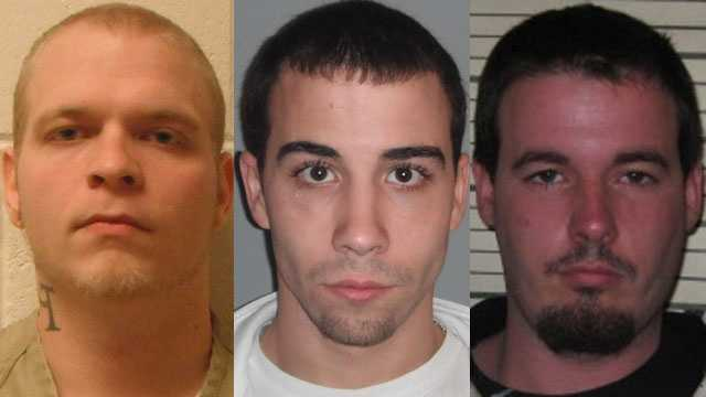 From left to right: Justin Lavalley, Brett Stranger, Scott Prior (Prior image from a 2011 booking photo).