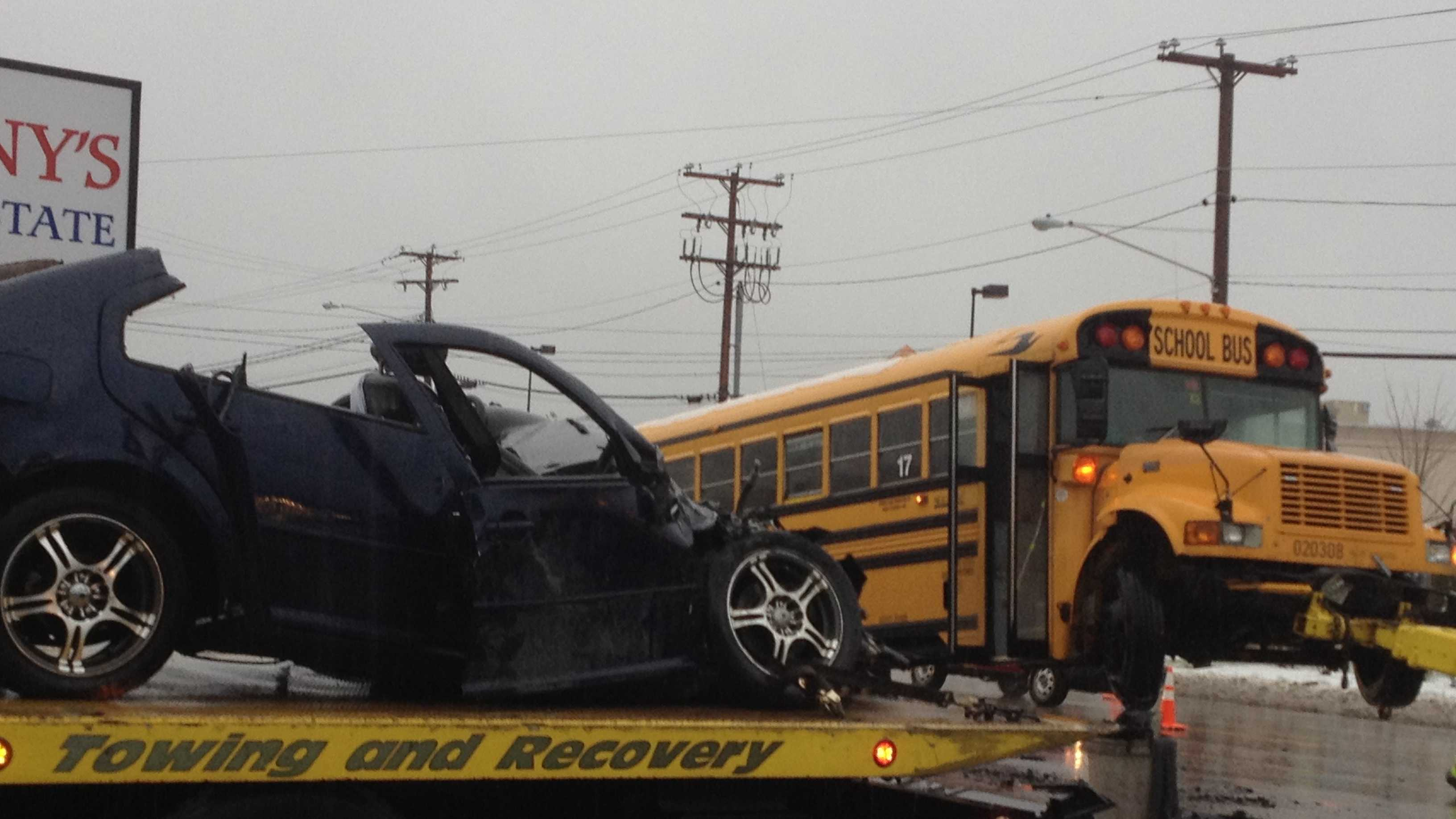 Crash in Exeter involving school bus