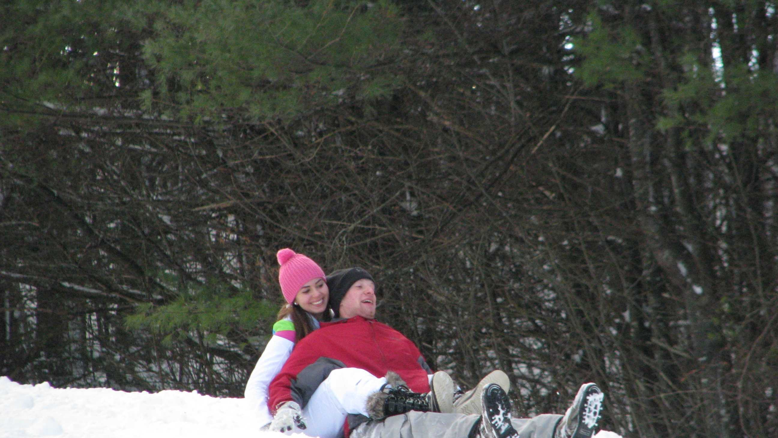 Sledders took to the fresh snow at Gilford's town recreation department sledding hill of Route 11B Friday following a Nor'easter that dumped about a foot in the area.