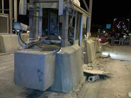 At around 10 p.m., the truck hit the South 2 booth at the Hampton side ramp plaza, which takes vehicles from Interstate 95 to NH-101.