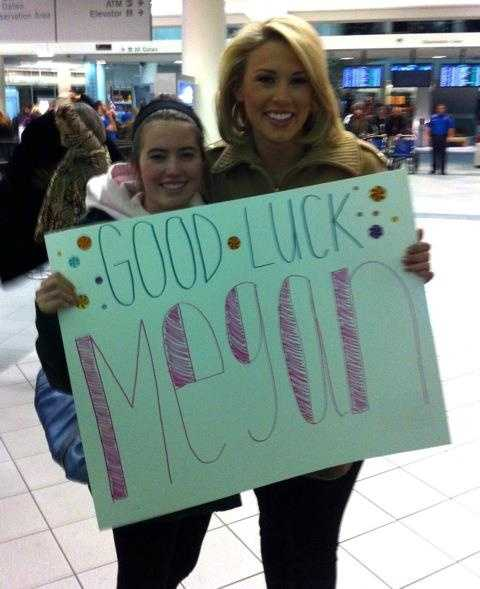 Several turned out at Manchester-Boston Regional Airport to wish Megan well.