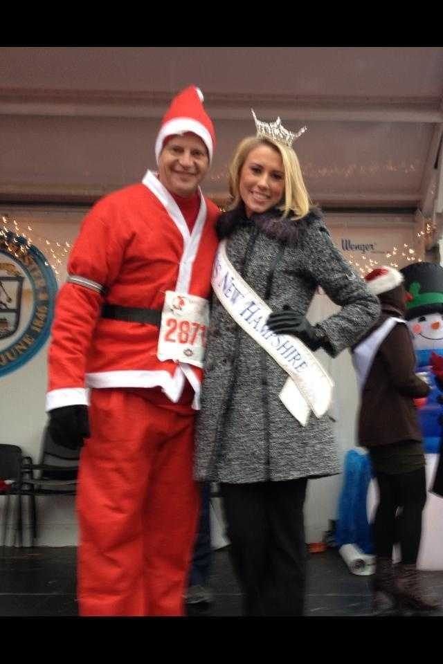 Megan with News 9's Jamie Staton at the 2012 Santa Run.
