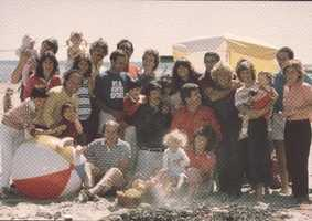 """Chet Curtis has the red shirt on in this """"Five is Family"""" promotional spot. The photo was likely taken around 1983."""