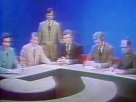 Chet Curtis joined WCVB-TV in 1972 and can be seen sitting in the center of the anchor desk (in a dark suit) in a shot from the 1970s.