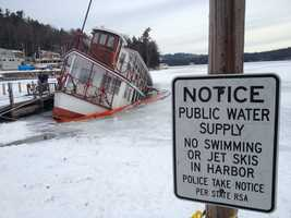 A popular dinner boat on Lake Sunapee is now mostly underwater after it started sinking Thursday night.