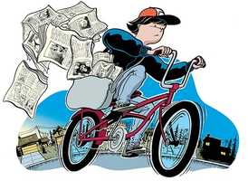 For her first job, Erin was a newspaper delivery girl.