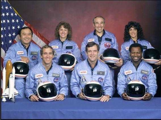 McAuliffe is pictured here with other crew members: Michael J. Smith, Dick Scobee, Ronald McNair, Ellison Onizuka, Gregory Jarvis and Judith Resnik