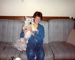 """Growing up, Jamie had a few pets including acouple of goldfish, a mouse named Jeffrey and a West Highland Terrier named Duncan. """"He wasn't the best-behaved dog you will meet, but he was fearless and awesome,"""" Jamie said."""
