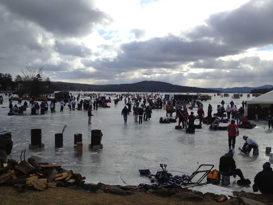 Nearly 1,400 skaters take to the ice on Lake Winnepesaukee for the fourth annual tournament.