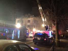 Twelve people have been displaced by a fire swept through their apartment building in downtown Manchester.