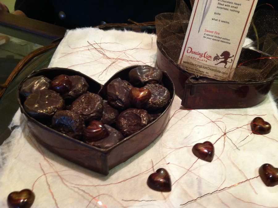 """This chocolate-sculpted heart box and truffles is from """"Dancing Lion Chocolate"""" in Manchester."""