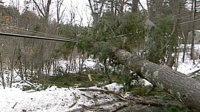 High wind gusts mean power outages and downed trees across New Hampshire Sunday evening.
