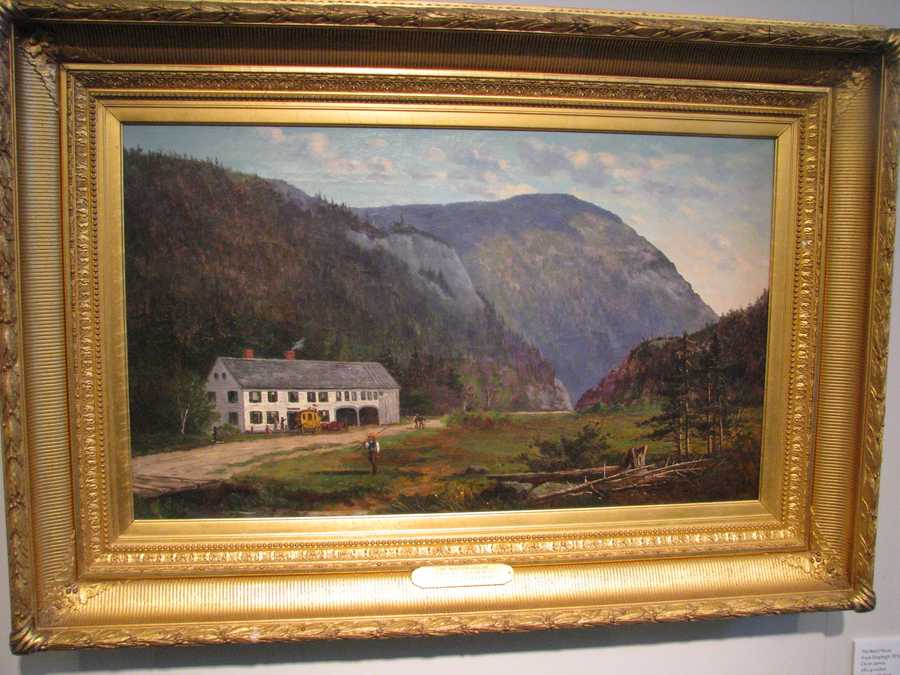 Frank Shapleigh's 1879 oil on canvas, The Notch House in Crawford Notch, is among the works on display in the inaugural exhibit at the Museum of the White Mountains.
