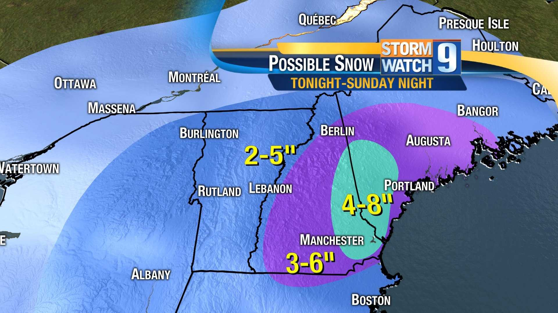 Latest snow projection for Feb. 23 weekend