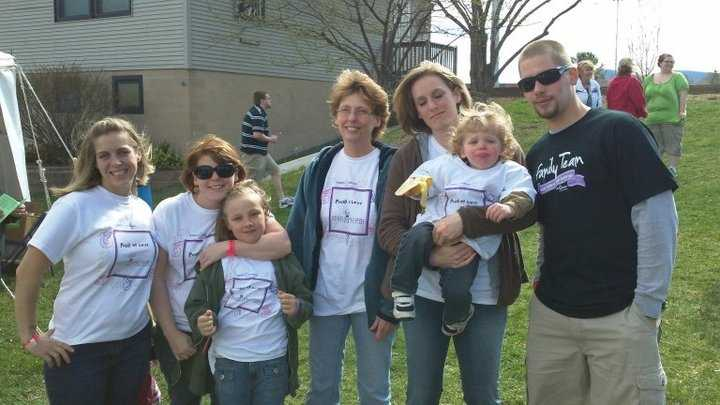 The Lakes Region 'Family Team' making a contribution to their local March for Babies.