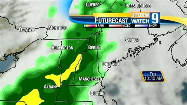 More than an inch of rain is possible in New Hampshire during the day on Tuesday.