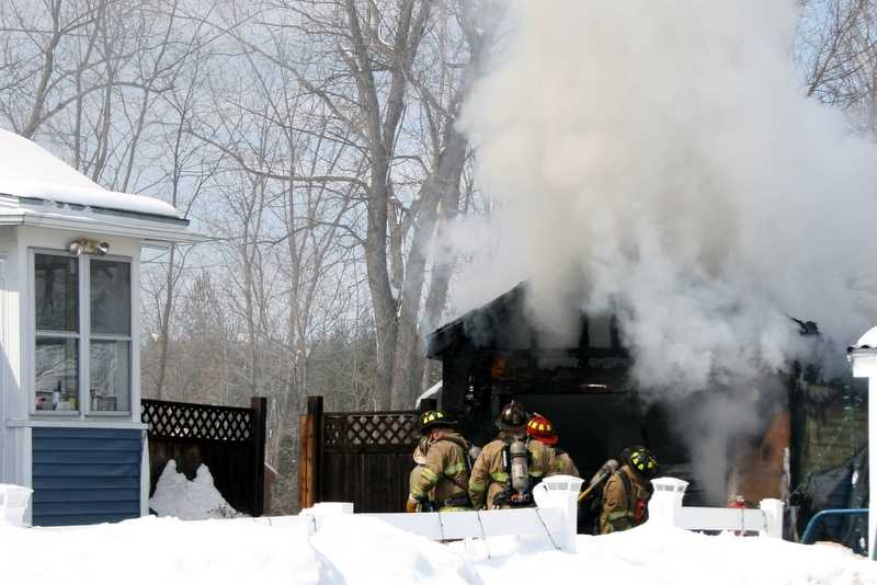 The Rochester fire department responded to a burning garage on Railroad Avenue.