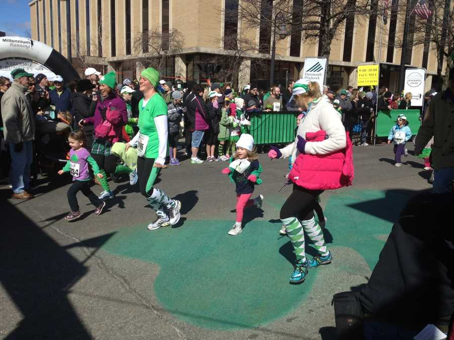 Prior to the parade, thousands of runners took to the streets for the Shamrock Shuffle.