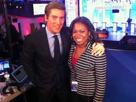 "What is Melinda's most memorable story assignment? ""I love all things politics, so covering the 2012 political season was definitely a dream come true. Being a part of the presidential debates was a highlight! Here I am with World News Anchor David Muir,"" said Melinda."
