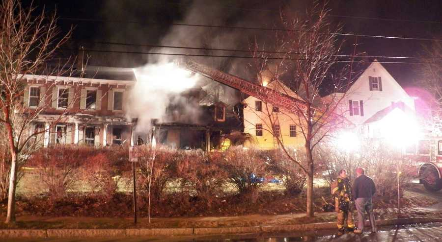 Crews were concerned about the fire spreading to surrounding buildings, but were able to contain the flames after two hours.
