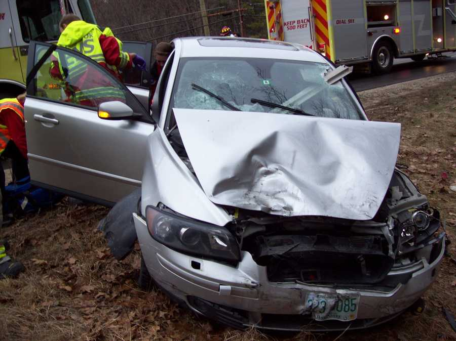 The driver of the Volvo was transported to the hospital with a head injury.