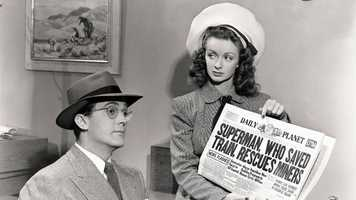 """Noel Neill (right) was the first to play Lois Lane, appearing in the 15-part 1948 film serial and in """"Atom Man vs. Superman"""" alongside Kirk Alyn's Clark Kent/Superman."""