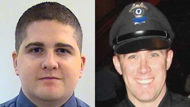 MIT Police Officer Sean Collier (left) was shot and killed. MBTA Officer Richard H. Donohue (right) was wounded later.