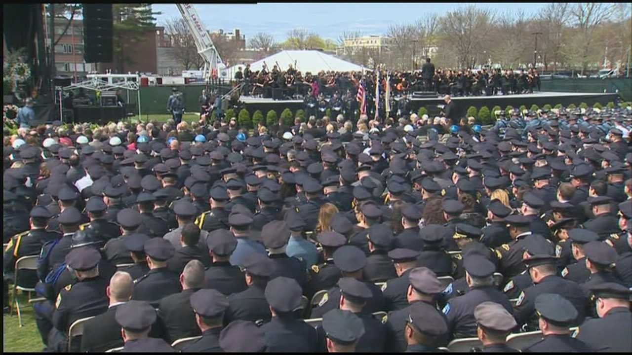 As many as 20,000 people gathered at Briggs Field on Wednesday to honor Massachusetts Institute of Technology police Officer Sean Collier.