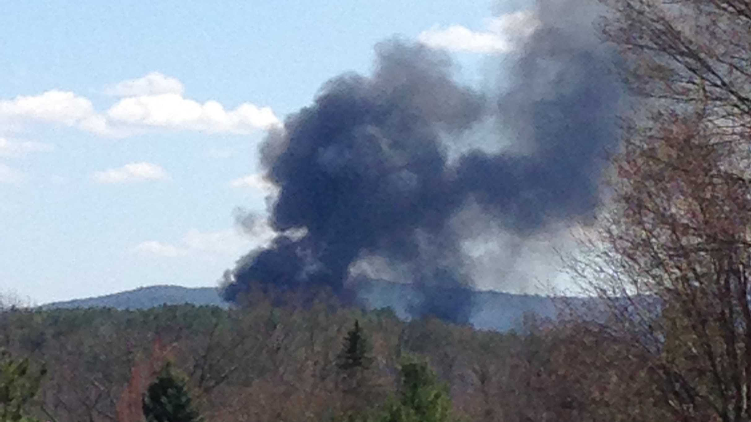 Smoke could be seen from several miles away after a barn fire in Laconia Sunday.