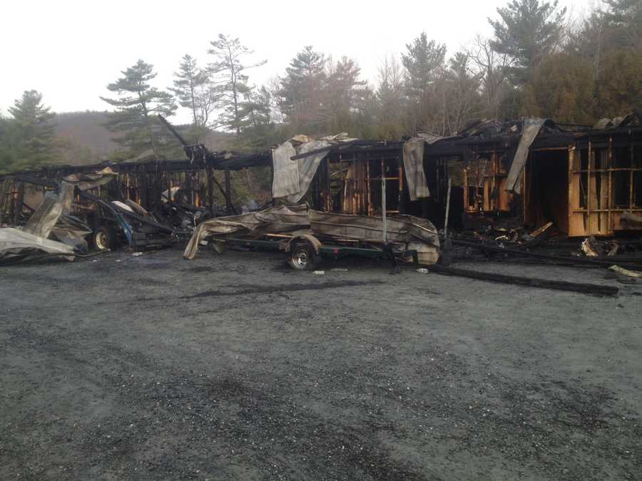 Dozens of boats were destroyed after a fire broke out at the Riveredge Marina on Squam Lake late Sunday night.