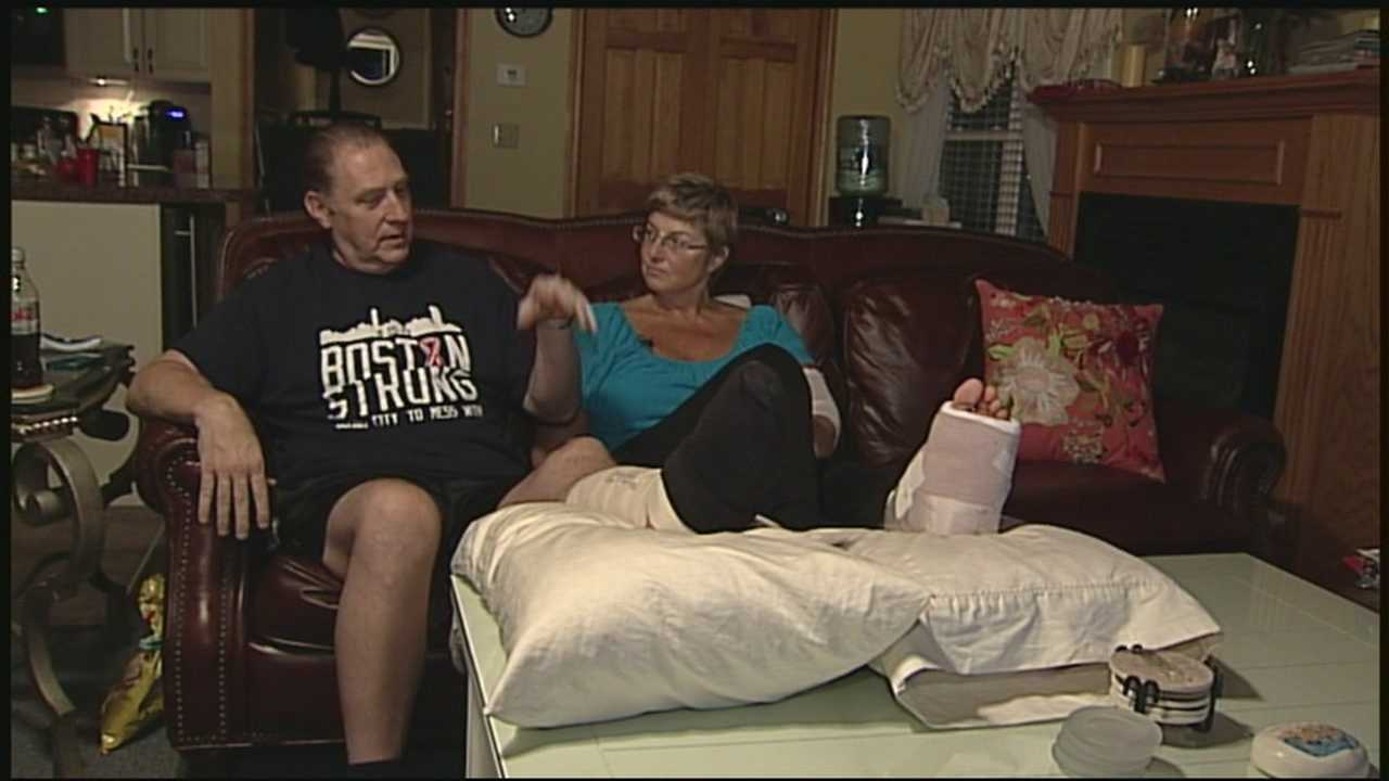 An Epsom couple seriously injured in the Boston Marathon bombings talks with News 9 one the month anniversary of the attacks.