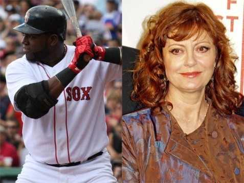 2) David and Susan(Pictured: Red Sox DH David Ortiz, and actress Susan Sarandon)