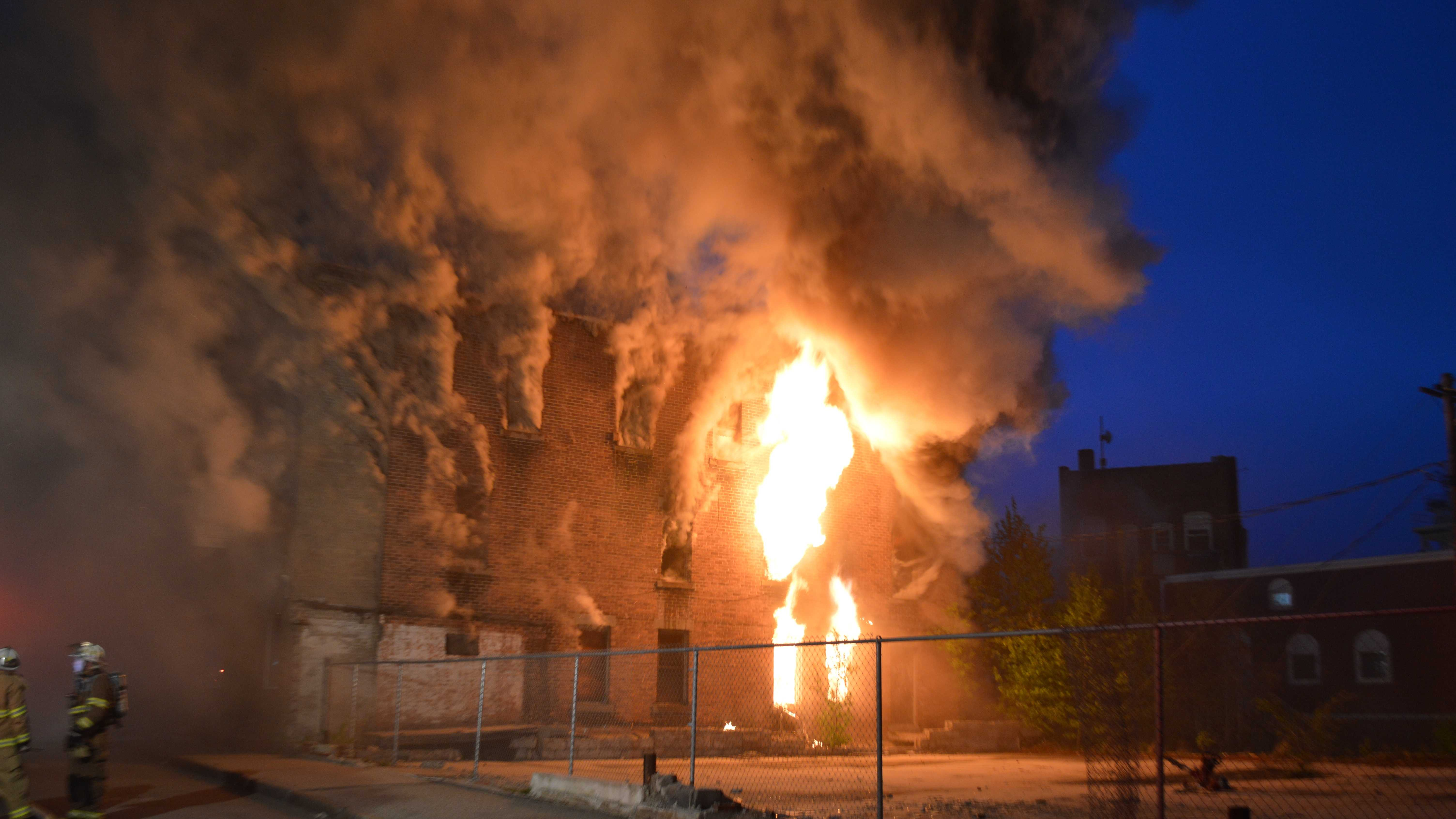 Fire destroyed a vacant building in Berlin early Sunday morning.