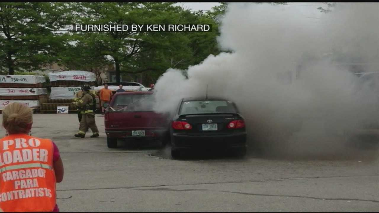 Car bursts into flame in Home Depot parking lot