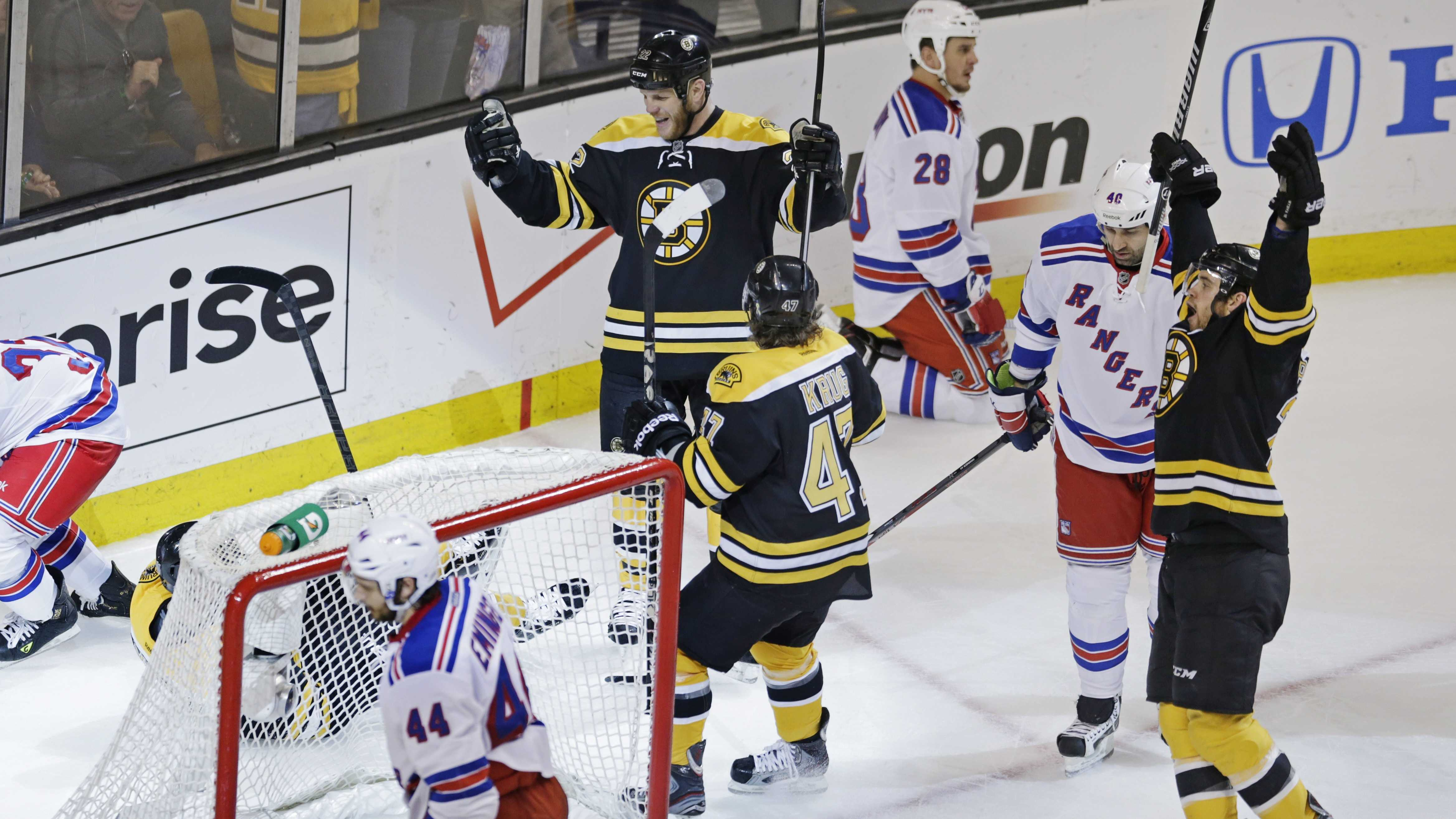 Boston Bruins center Gregory Campbell falls behind the goal as his teammates celebrate after his goal against the New York Rangers.