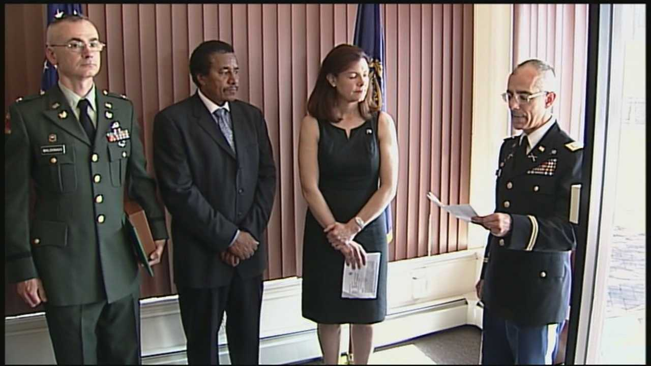 New Hampshire veteran receives his Purple Heart award after 44 years.