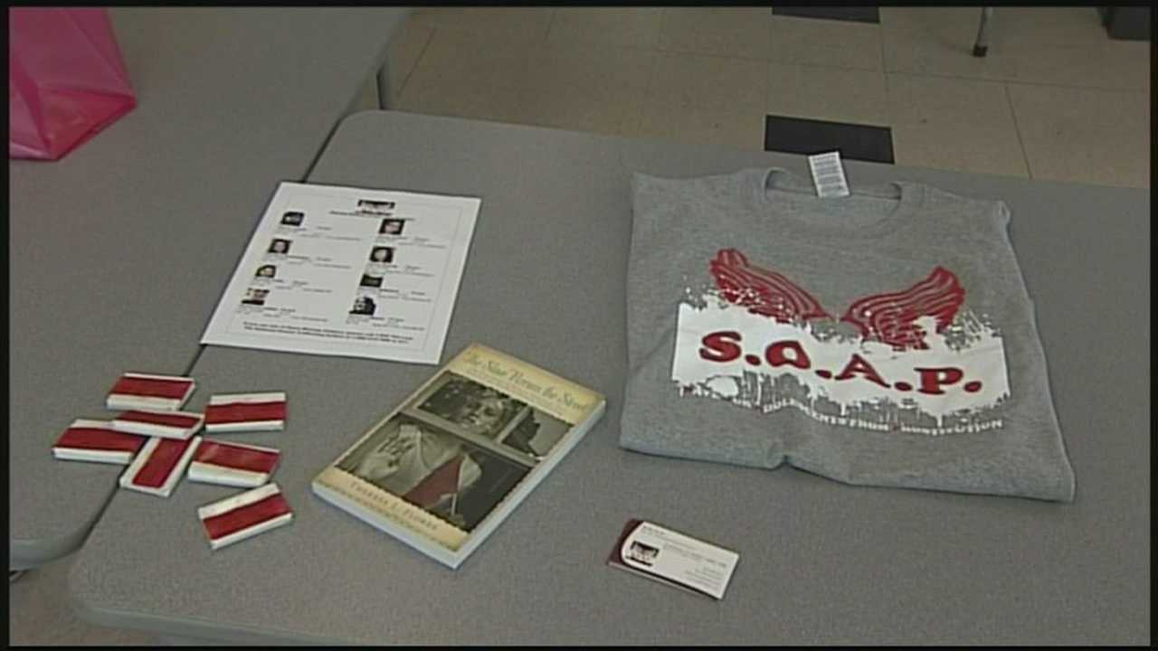 Local volunteers come together to raise awareness on human trafficking.