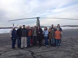 Friends and family with Jake after his first solo flight