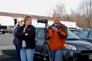 Jake's friends and family set up a camera to take pictures of his first solo flight