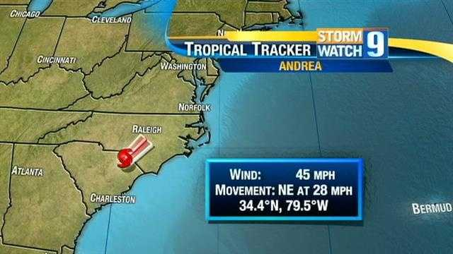 Track the remnants of Tropical Storm Andrea as they head up the Atlantic coast.