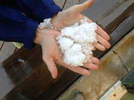 Hail was reported across several Seacoast towns -- including outside our Portsmouth Bureau -- where you can see our Jennifer Crompton holding a handful.