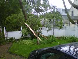 A home was damaged near the intersection of Sheffield and Madison in Portsmouth.