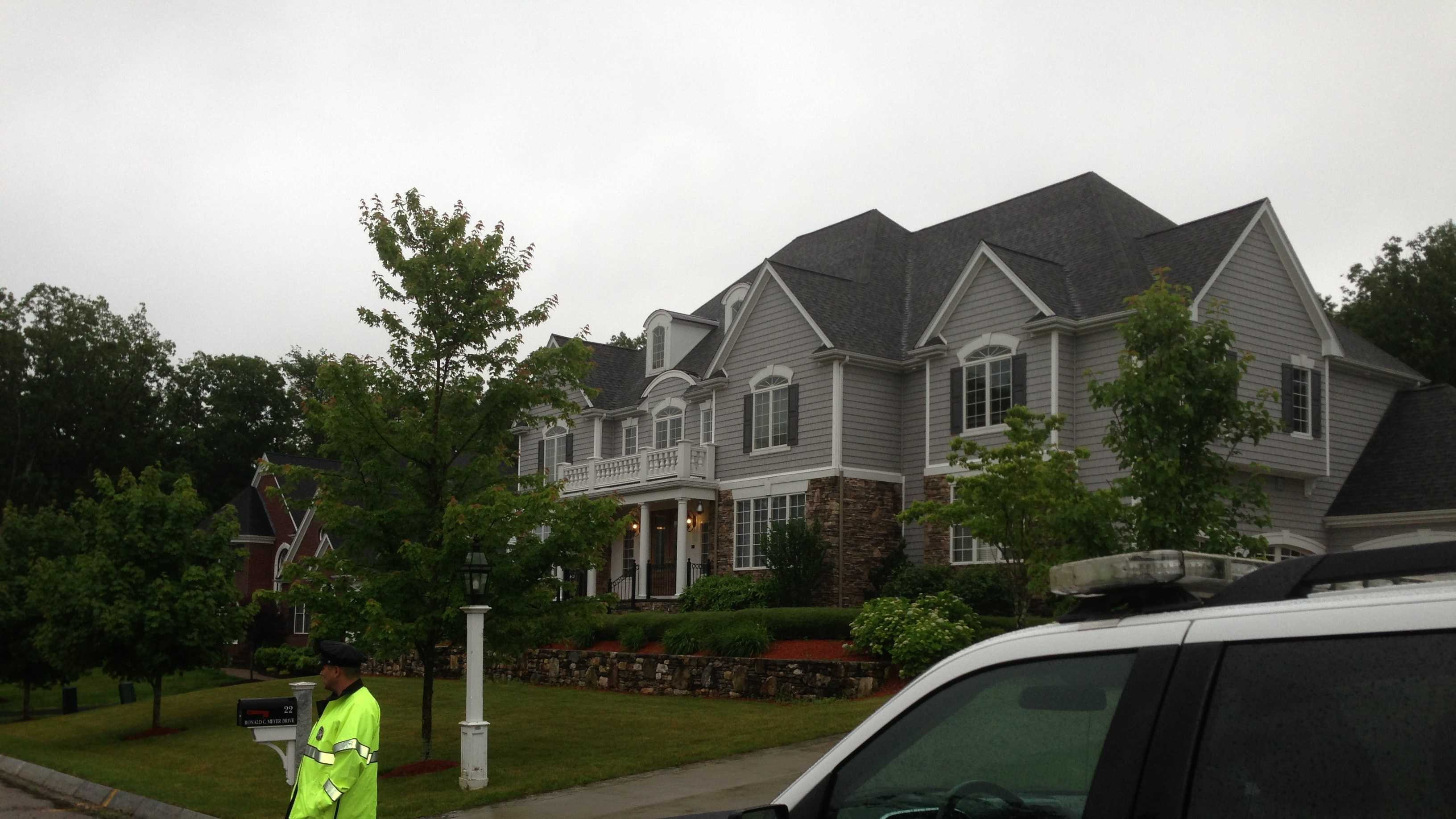 A heavy police presence outside the home of Patriots TE Aaron Hernandez in North Attleborough, Mass.