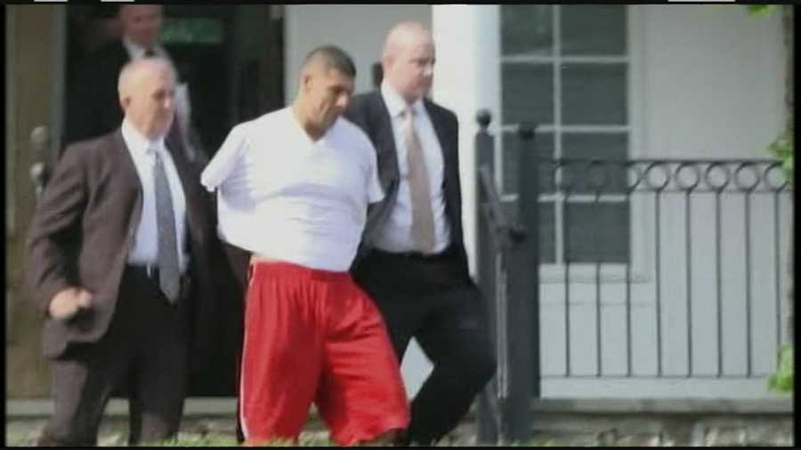 Former New England Patriots star Aaron Hernandez was arrested outside his North Attleborough home Wednesday morning.