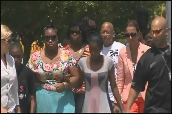 The family of Odin Lloyd outside the Attleboro courthouse.