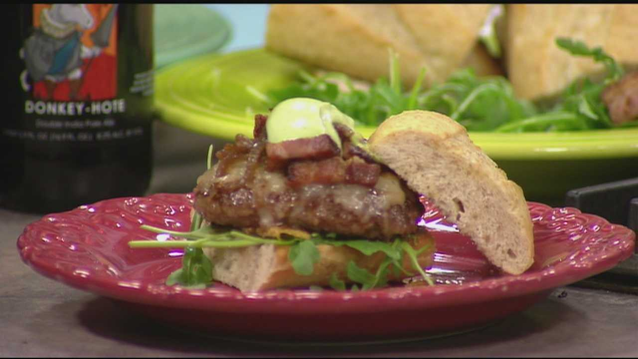 Sean McDonald makes a burger with a special treat for Craft beer week